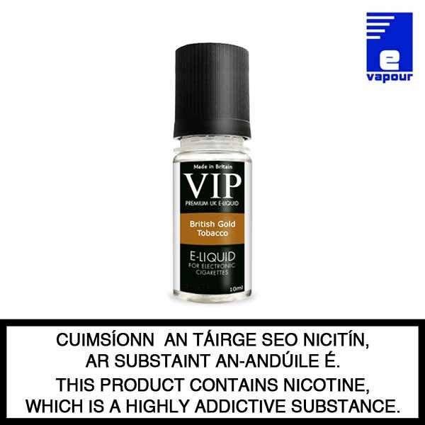 VIP British Gold Tobacco Premium e-liquid - 10ml Bottle