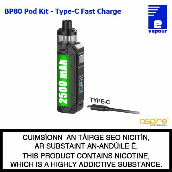 Aspire BP80 Pod Kit - USB-C Fast Charge