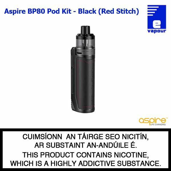 Aspire BP80 Pod Kit - Charcoal Black (Red Stitching)